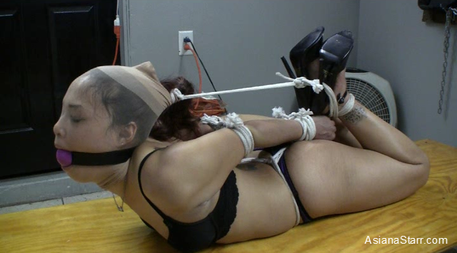 Hogtied in pantyhose